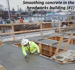 Smoothing concrete in the headworks building (#1)