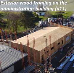 Exterior wood framing on the administration building (#11)