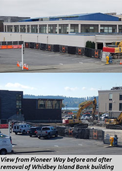 View from Pioneer Way before and after removal of Whidbey Island Bank building