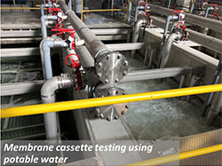 Membrane cassette testing using potable water