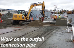 Work on the outfall connection pipe