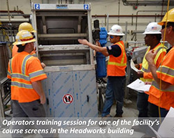 Operators training session for one of the facility's course screens in the Headworks building