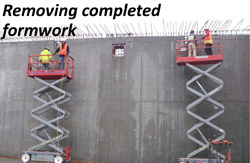 Removing completed formwork