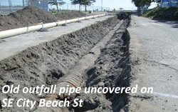 Old outfall pipe uncovered on SE City Beach St.