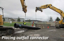 Placing outfall connector