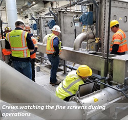 Crews watching the fine screens during operation
