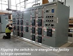 Flipping the switch to re-energize the facility to begin operations