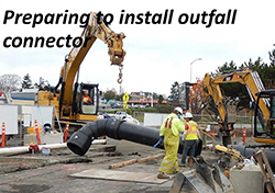 Preparing to install outfall connector