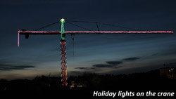 Holiday lights on the crane