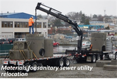 Materials for sanitary sewer utility relocation
