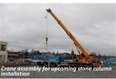 Crane assembly for upcoming stone column installation