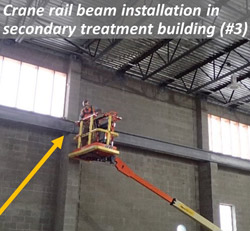 Crane rail beam installation in secondary treatment building (#3)