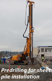 Pre-drilling for sheet pile installation