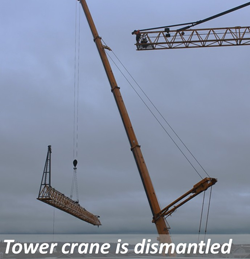 Tower crane is dismantled