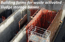 Building forms for waste activated sludge storage basins