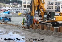 Installing the final sheet pile