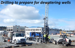 Drilling to prepare for dewatering wells
