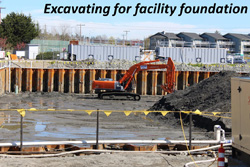 Excavating for facility foundation