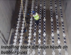 Installing black diffusion heads on bubbler pipes