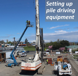 Setting up Pile Driving Equipment