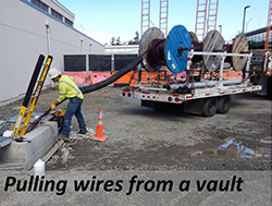 Pulling wires from a vault