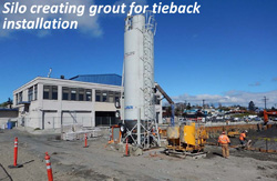 Silo creating grout for tieback installation