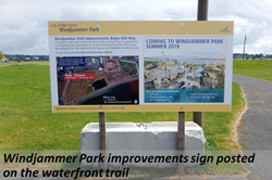 Windjammer Park improvements sign posted on teh waterfront trail.