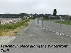 Fencing in place along the waterfront trail.
