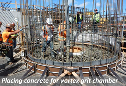 Placing concrete for vortex grit chamber
