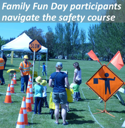 Family Fun Day paricipants navigate the safety course