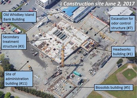 Aerial photo showing construction site June 2, 2017.