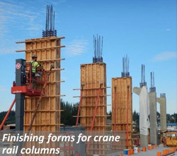 Finishing forms for crane rail columns.