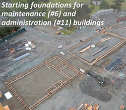 Starting foundations for maintenance (#6) and administration (#11) buildings