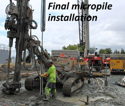 Final micropile installation