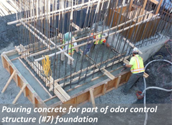 Pouring concrete for part of odor control structure (#7) foundation.