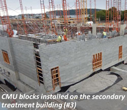 CMU blocks installed on teh secondary treatment building (#3)