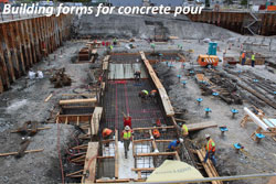 First concrete pour for facility foundation