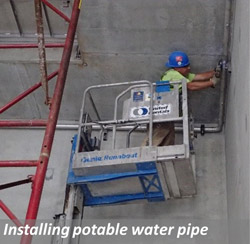 Installing potable water pipe