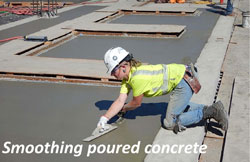 Smoothing poured concrete