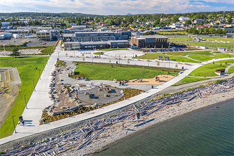 Oak Harbor Clean Water Facility and shoreline from above
