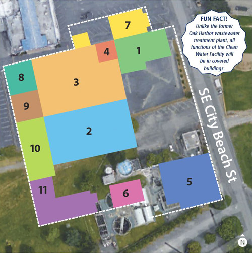 A plan-view map depicting 11 new buildings