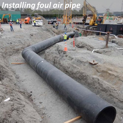 Installing foul air pipe