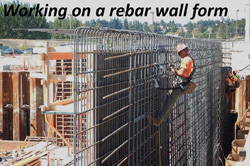 Working on a rebar wall form