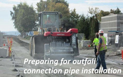 Preparing for outfall connection pipe installation