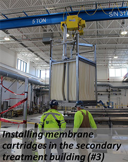 Installing membrane cartridges in the secondary treatment building
