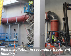 Pipe installation in secondary treatment building