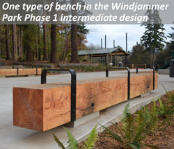 One type of bench in the Windjammer Park Phase 1 intermediate design