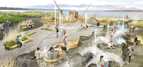 rendering of splah park with rocks, water features and kids playing along a coastline with a body of water in the background