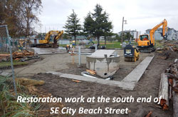 Restoration work at the south end of SE City Beach Street