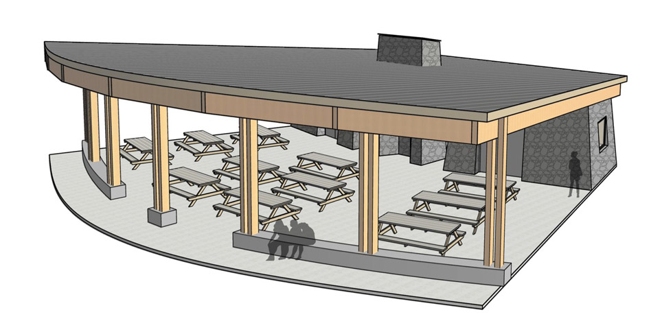 Drawing of a future kitchen with three open sides and four rows of picnic tables under the roof.